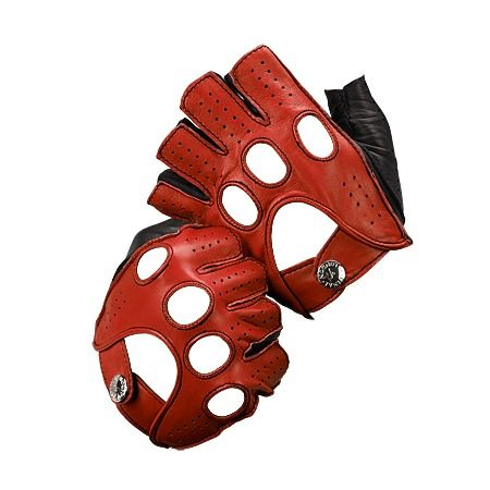 Men's Fingerless Leather Driving Gloves in Red from Aspinal of London $85