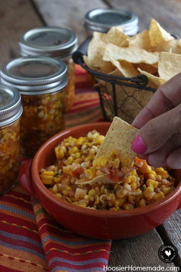 Grab the Chips! It's time to make this delicious Spicy Corn Salsa! Add a little heat or a lot - just the right amount! Grab the recipe and learn how to preserve your own food using the canning process! #canitforward