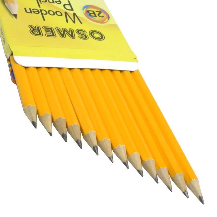 $5.15 Delivered : Box of 12 Osmer Hexagonal Wooden Lead 2B Pencils. Save when buying multiple quantities.      Easy to sharpen.     Resistant lead.     Long lasting life.     For office and school use.     Non-toxic.     Hexagon shape helps children learn how to hold a pencil correctly.