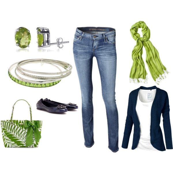 Love this : Skinny Jeans, Green Scarves, Color Combos, Green Accent, Dream Closet, Navy Green, Limes Green, The Navy, Bags