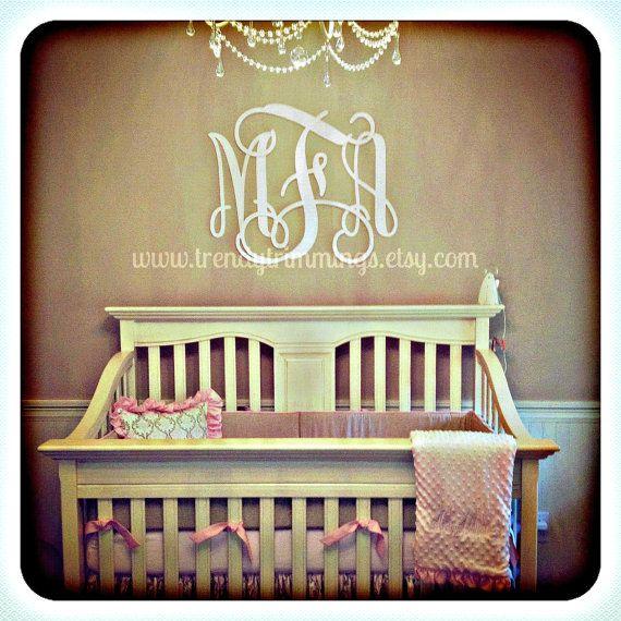 Custom floral decor above crib pink gender reveal decor ...
