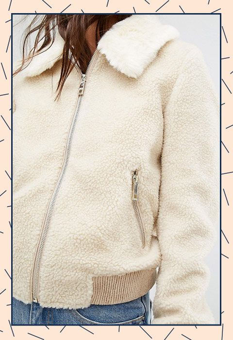 A fluffy borg bomber jacket with a fluffy collar? Yep, that's exactly where we all want to spend the cold snap, too