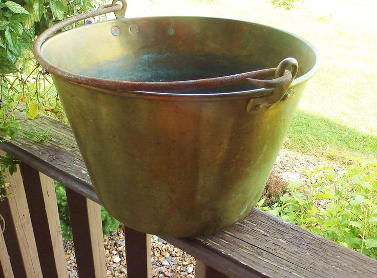 Antique Large Brass Pail Bucket 14 Quot With Hand Cast Iron
