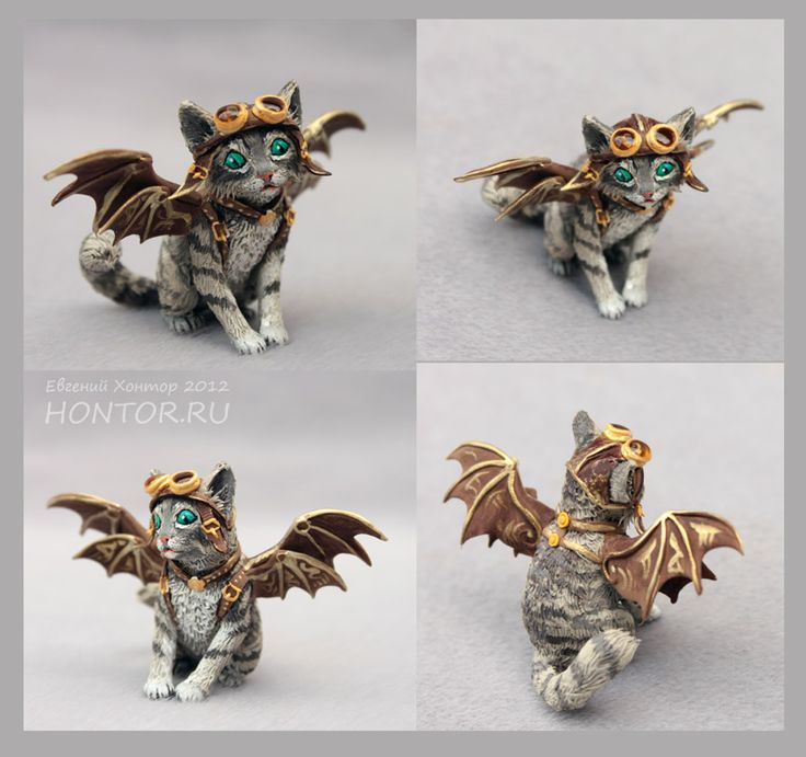 steampunk cat in polymer clay