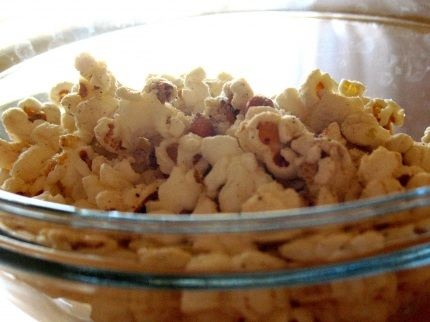Parmesan popcorn. this is basically how I make mine but I use cracked black pepper on mine too. SO GOOD!