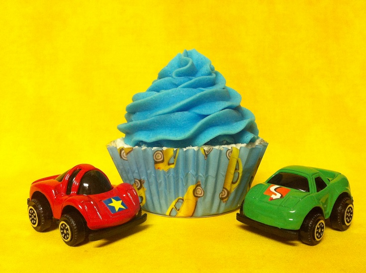 Race cars -Surprise cupcake bath bomb (surprise inside)  www.etsy.com/shop/SweetBathBakery