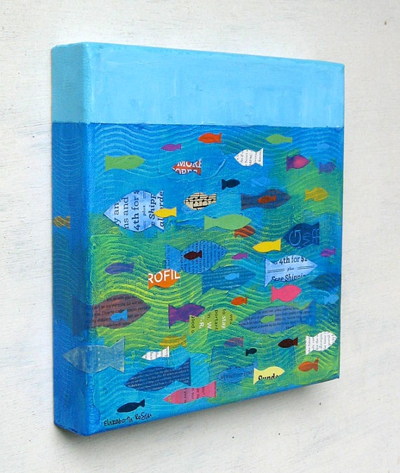 Nice idea for artwork. Get the children to cut out fish and color in lots of patterns. Then add to background.
