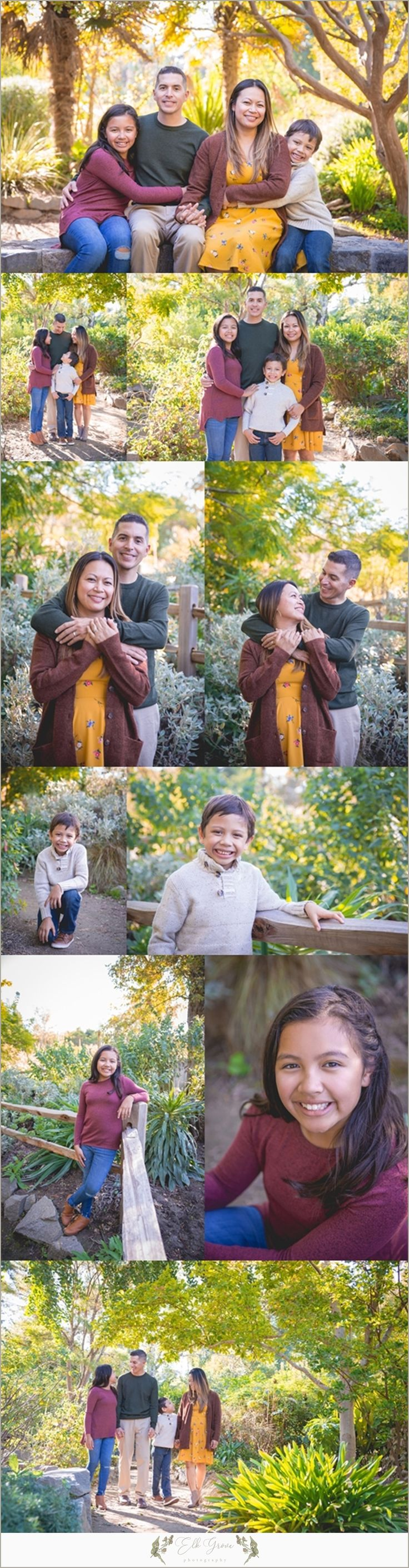 Family of 4. Family Photography by Elk Grove Photography - Natural Light - Posing Ideas for Families, Siblings, Parents, Couples, and Large Groups. Unposed Candid Ideas. Family Photography Outfit Ideas and Color Palettes. Sacramento, CA. Fall Colors. Fall Portraits. Maroon and Mustard Yellow and Forest Green.