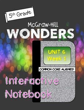 """Interactive Notebook for WONDERS Reading Program by McGraw Hill. This is an interactive notebook for Unit 1 Week 1 for 5th grade. It includes activities for: -small story from the workshop textbook -selection from the anthology -comprehension strategies -summarizing strategies -context clues -theme -homophones -vocabulary -genre (historical fiction) -answering the big idea and question of the week -grammar (adverbs) -Greek roots (""""psych"""" and """"auto"""")"""