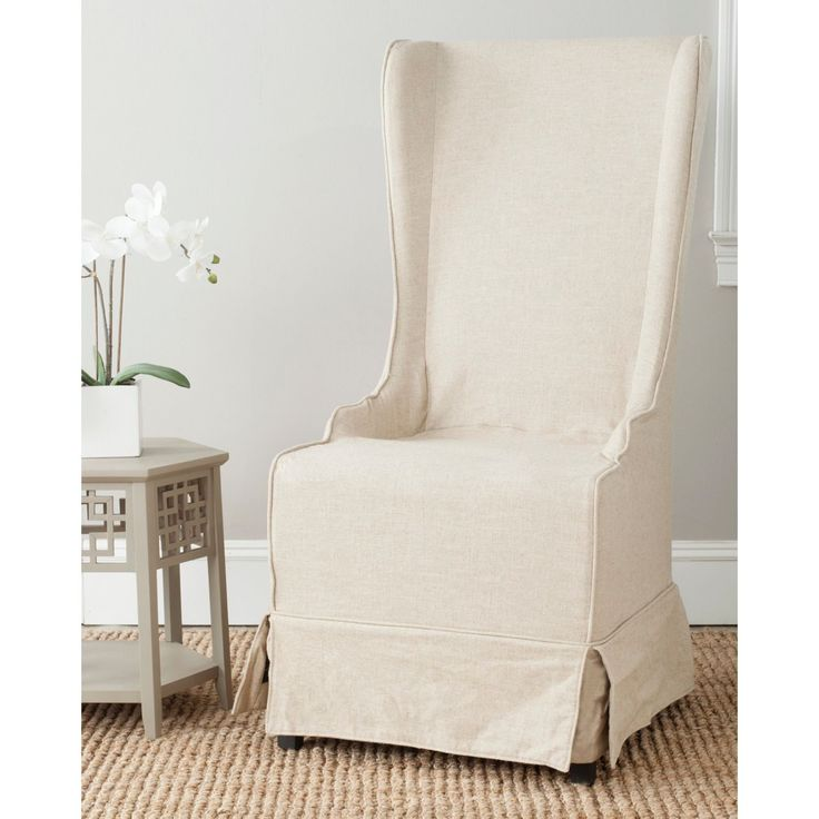 Safavieh En Vogue Dining Deco Bacall Ivory Slip Cover Side Chair , Beige Off-White (Mahogany)
