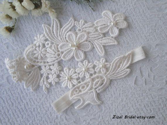 Ivory Wedding Garter Bridal Set Pearl Clothing Lace GarterIvory Garters