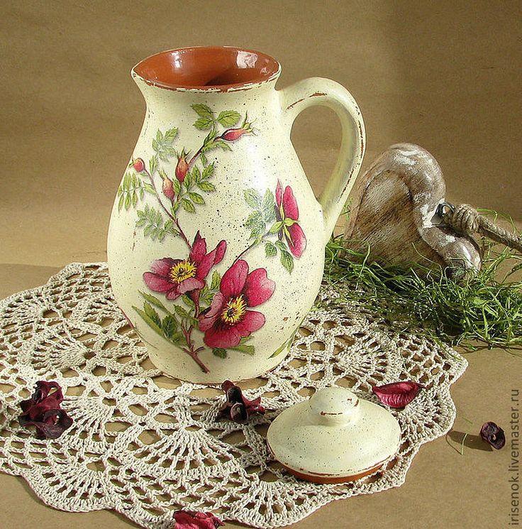 """Купить """"Шиповник"""", кувшин для напитков - Керамика, пищевая керамика, кувшин, кувшин для напитков, Декупаж, шиповник"""