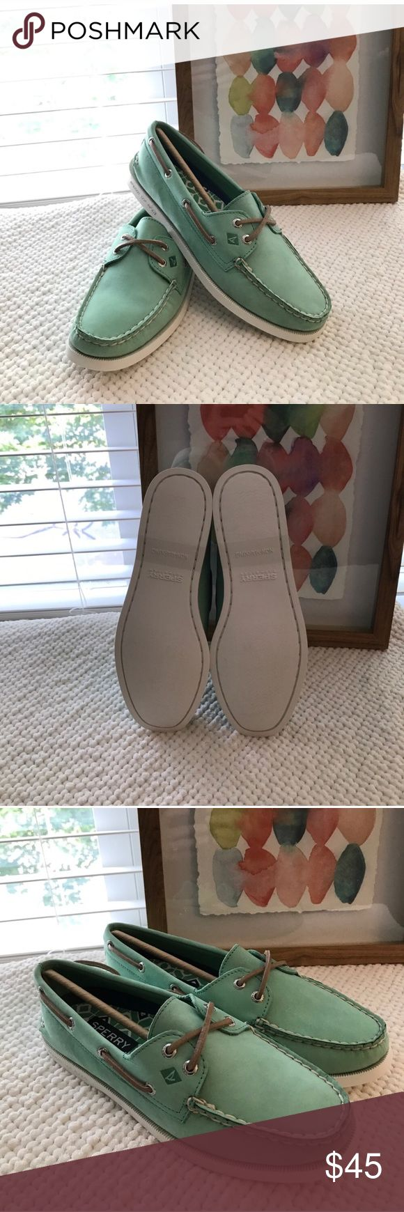 Sperry Mint color brand new leather boat shoes Brand new waxed leather with box! Sperry Topsiders!! Sperry Top-Sider Shoes Flats & Loafers