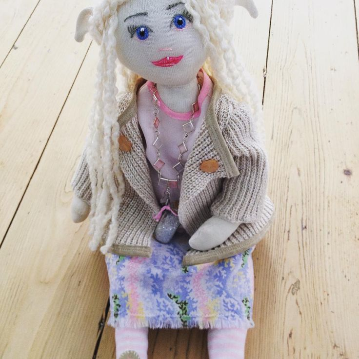 'Linden', the second in my MaerieFaerie doll collection. Made from recycled clothing and fabrics, vintage trims and thrift shop finds. Stuffing is 100% recycled polyester.