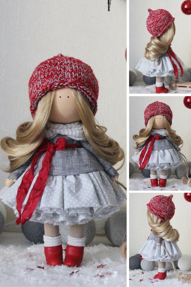 Fabric doll STOCK Tilda doll Textile doll Handmade doll Red doll Rag doll Art doll Baby doll Unique doll Nursery doll Soft doll by Margarita