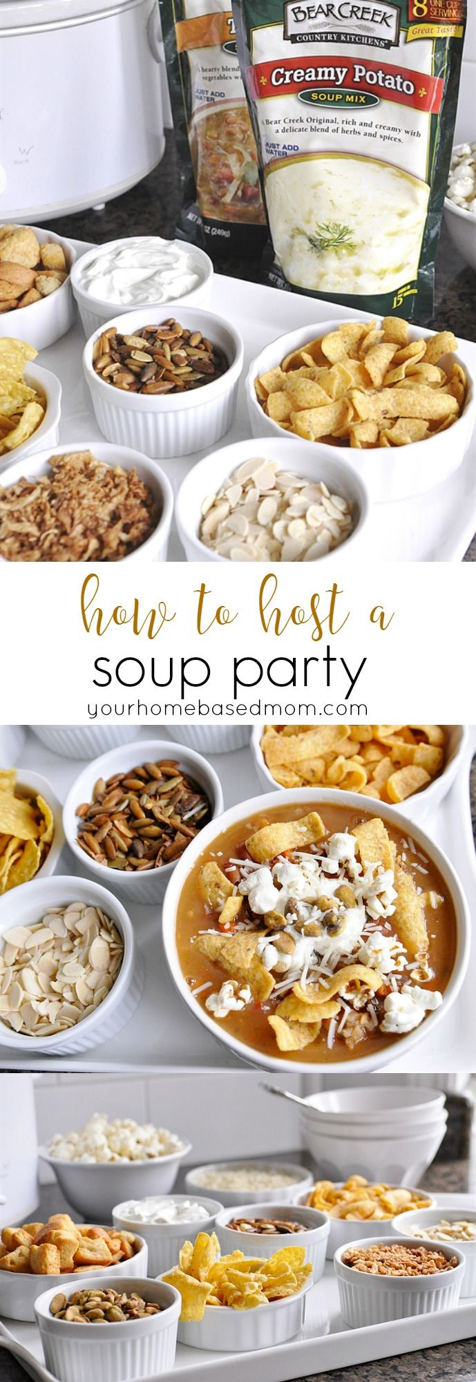 How to Host a Soup Party from yourhomebasedmom.com.  A quick and easy way to entertain  #BearCreekSoupedUp  #ad