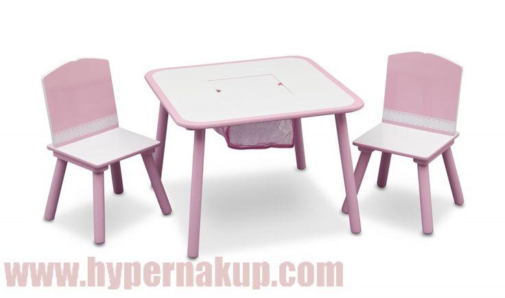 Detský stôl so stoličkami ružový