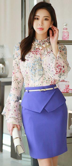 StyleOnme_Front Flap Detail Belted H-Line Skirt #purple #springtrend #pencilskirt #elegant #feminine #koreanfashion #kstyle #seoul #skirt