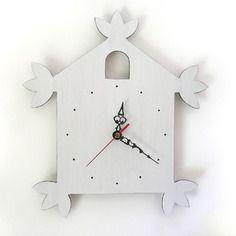 Horloge blanche en forme de coucou - blanche
