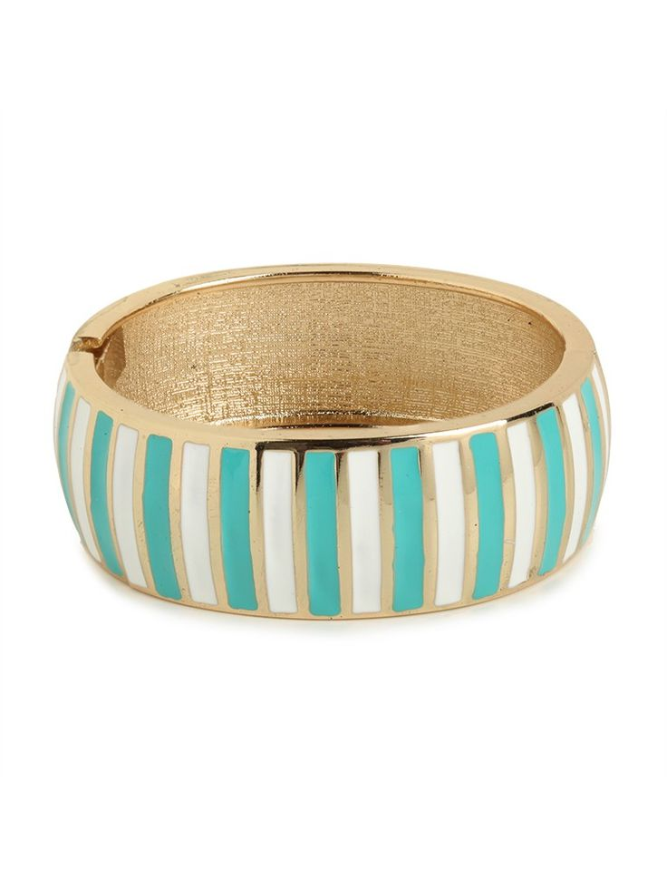 This striking bangle taps into a playful pastel palette, with those mint and white stripes. It's bold, fun, fresh and an absolute must-have on our list.