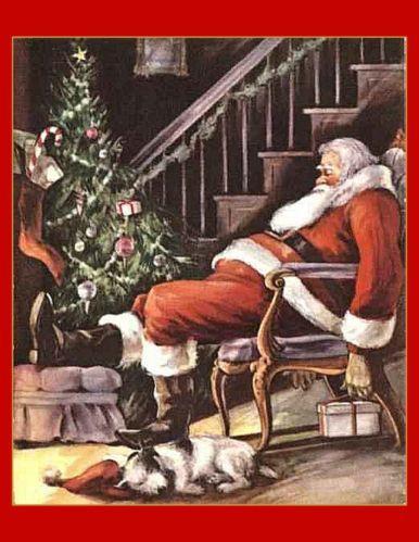 Canvas Art Print Santa Sleeps by Christmas Tree