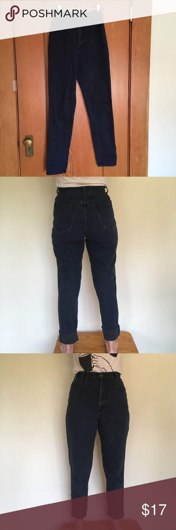 "High waisted over-dyed navy blue Karen Kane jeans Very soft, and very flattering in the booty and waist area. Model double cuffed to fit height.  27"" waist, 42"" waist to ankle, 31"" inseam. Model 5'3, 117 lbs and 28"" waist for reference. Two small white paint stains on left leg on upper thigh area. Karen Kane Jeans"