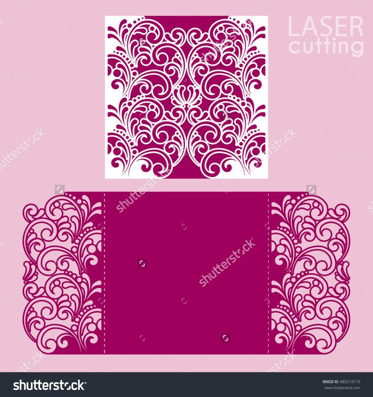 Laser cut wedding invitation card template vector. Cut paper card with pattern. Cutout paper gate fold card. Wedding invitation mockup. Suitable for greeting cards, invitations, menus, etc.