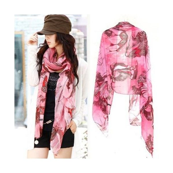 Pink Begonia Flower Ink Style Long Cotton Neck Scarf Shawl ($9.40) ❤ liked on Polyvore featuring accessories, scarves, long cotton scarves, flower scarves, oblong scarves, long shawl and cotton scarves