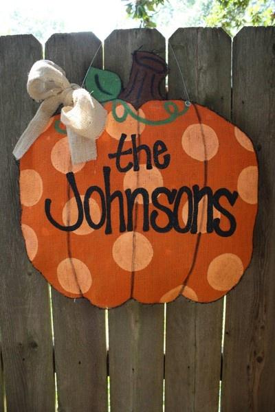 Love Emily's Burlap Door Hangers!!Fall Pumpkin, Burlap Door Hangers, Halloween Decor, Fall Decor, Fall Halloween, Front Doors, Burlap Banners, Design Home, Burlap Doors Hangers