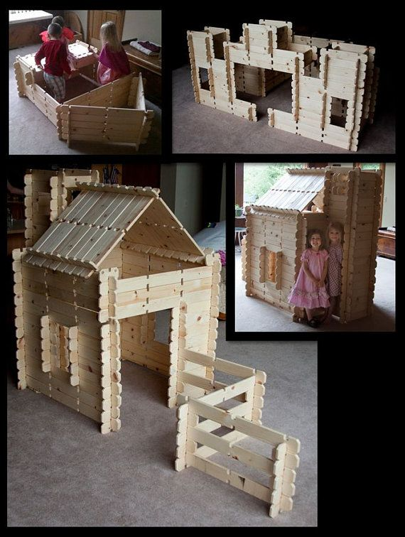 Log Cabin Style Wooden Blocks Fort Castle Play House Playhouse - FREE SHIPPING
