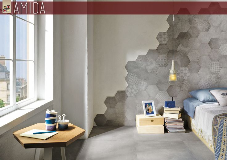 Scopri come rinnovare in modo unico la tua #casa: con le nuove #piastrelle #esagonali puoi creare una originale testata del #letto effetto #patchwork ! Vieni da Amida e scopri di più