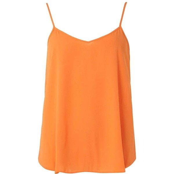 Dorothy Perkins Orange Inverted Pleat Cami top ($21) ❤ liked on Polyvore featuring tops, orange, red tank top, red tank, camisole tank tops, red top and red cami top