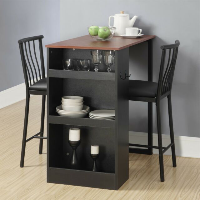 3 Piece Counter Height Dining Set With Storage Espresso Padded Chairs Table For Sale Online Ebay Small Dining Room Set Small Kitchen Tables Dining Room Small