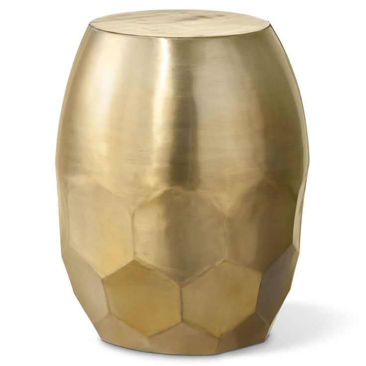 A gold metallic stool will make a statement in any space.