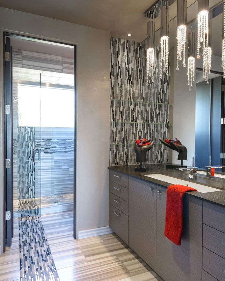 Southwestern Bathroom with Oversized Bathroom Mirror