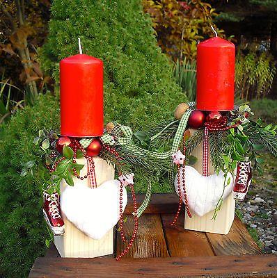 Tischdeko, Adventskranz, Weihnachten, Deko-Holzpfosten rot/weiss/grün mit Kerzen