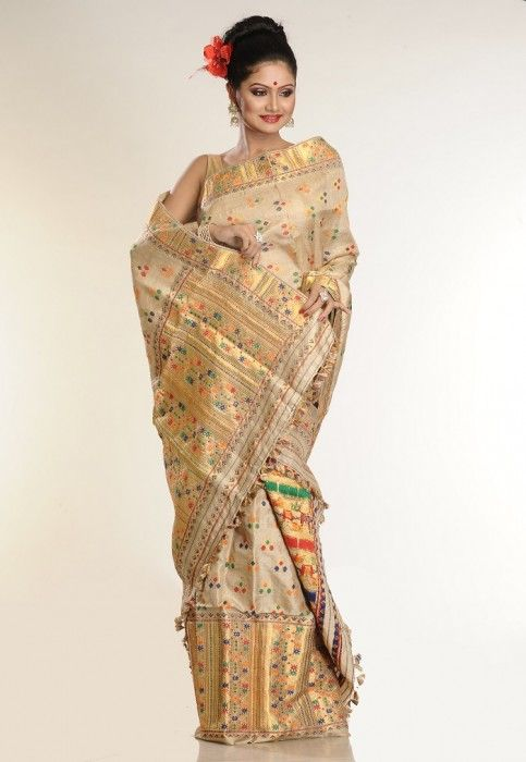 Muga silk sari for Indian Assamese brides