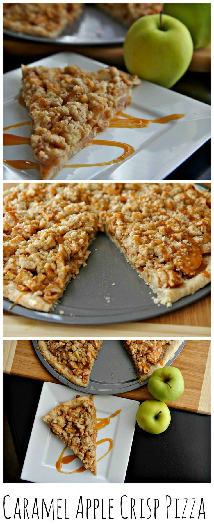 Caramel Apple Crisp Pizza, perfect for this time of the year. #dessertpizza #caramelapplecrisp