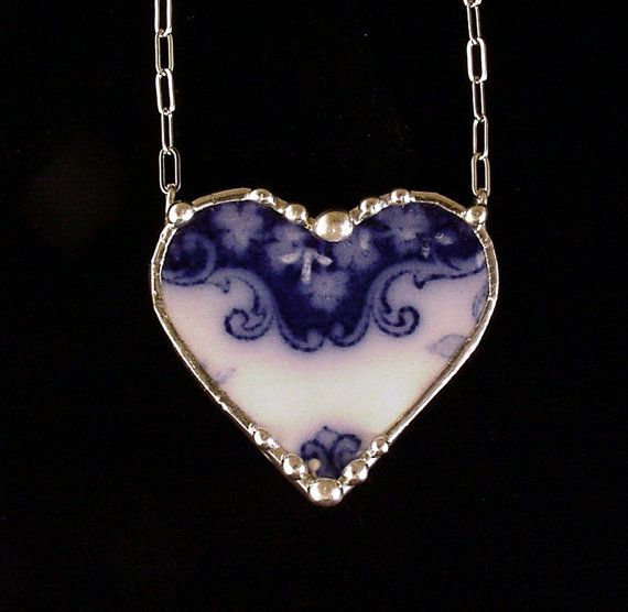 Broken china jewelry heart necklace Antique 1880's Flow Blue shamrock clover china
