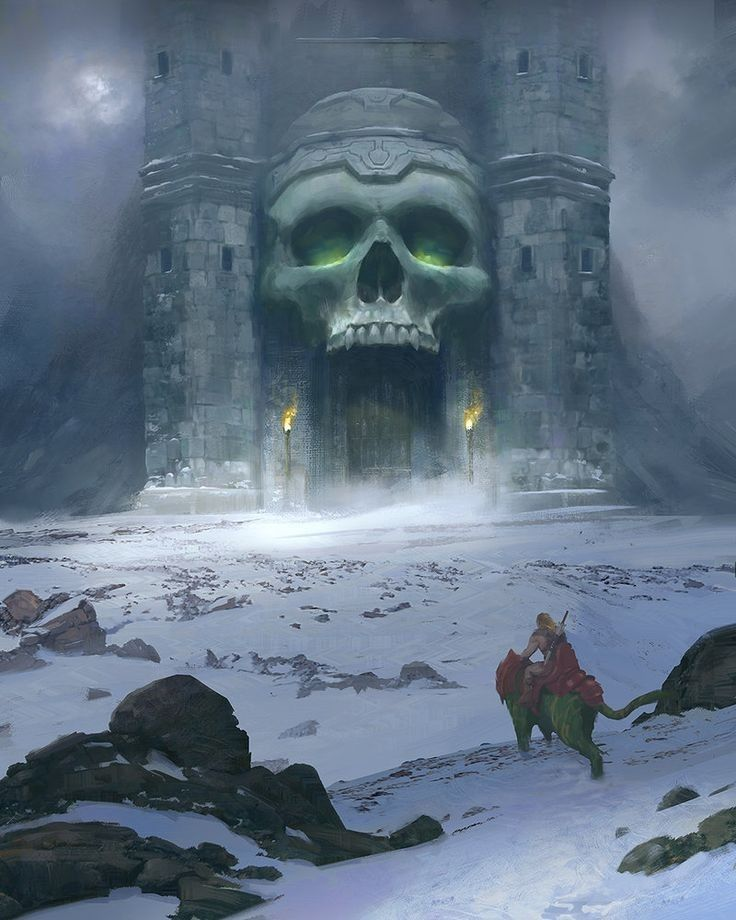 Very Cool Pic Of Castle Grayskull With He Man On Battle Cat In The