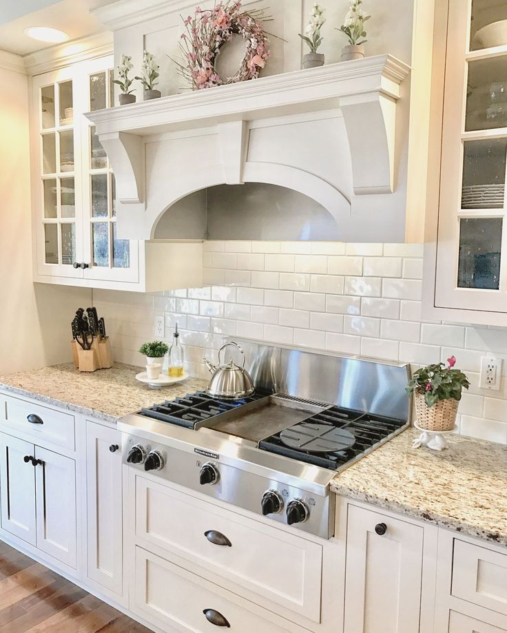 Off-white kitchen cabinets New Venetian Gold Granite Glass cabinet doors Sherwin Williams Dover White This just makes me happy when I look at it