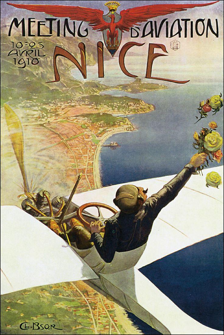 1910 aviation meeting at Nice (France)  Encontro de aviação de 1910 em Nice (França)