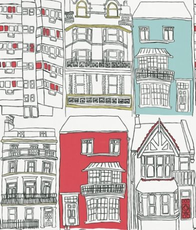 Brighton (75627) - Harlequin Wallpapers - An interpretation of Brighton's regency townhouses – with a hand-drawn quality to the image. Fun and quirky. Available in 3 colourways – shown with raspberry and aqua highlights. Please ask for sample for true colour match. Paste the wall.