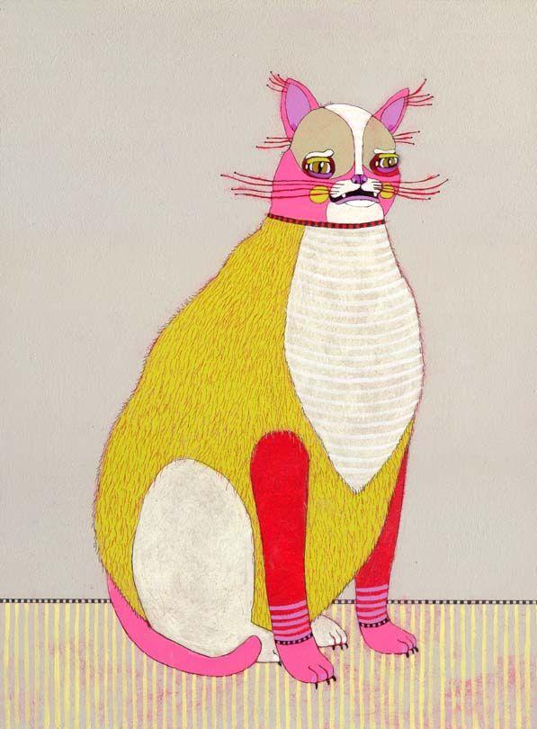 jennifer davis: Mo'N Davis, Cat Art, Animal Paintings, Cat Illustrations, Kitty Kat, Fat Cat, Jennifer Davis, Baby Cat, White Cat