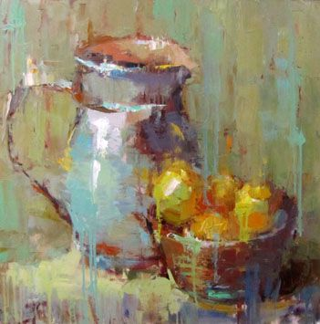 Barbara Flowers, Pitcher and Lemons Oil on Canvas 30 X 30