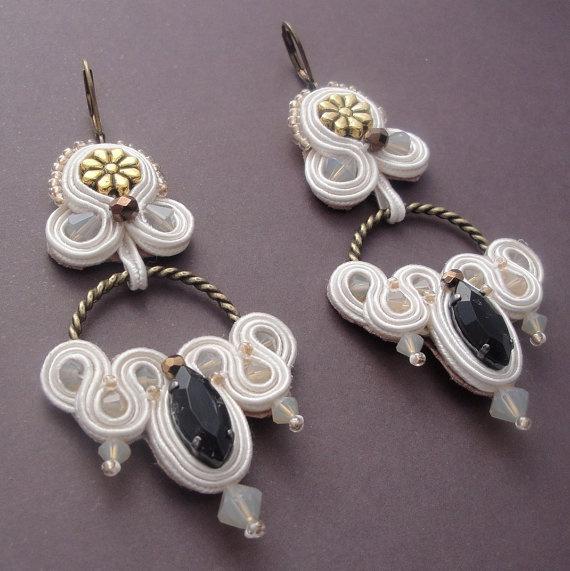 Cream Soutache Earrings