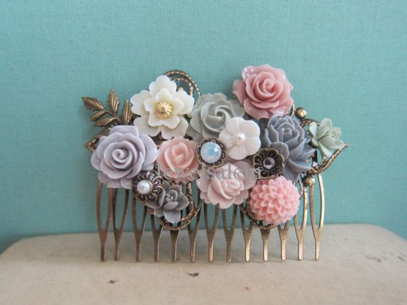 Flower Hair Comb Wedding Hair Piece Big Head Accessories Lilac Mauve Gray Grey Pink Cream Sage Green Mint Rhinestone Pearls Leaves Romantic