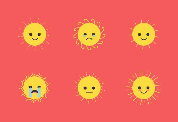 Download these cute Sun Emoji vector icons and more at https://www.iconfinder.com/lsedesigns