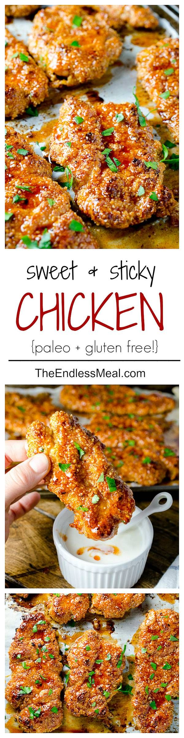 Sweet and Spicy Paleo Chicken Bites  May modify when I try this to avoid buying almond meal. Try flour and panko maybe?