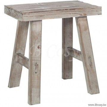 J-Line Antieken houten Krukje Rechthoekig Antiek Hout Naturel 40 Jline-by-Jolipa-72021
